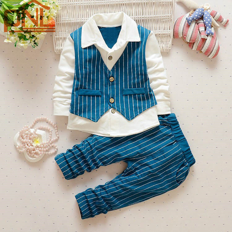New 2017 spring autumn cotton  fashion baby kids children clothes sets for boys gentleman suits 2017 new fashion spring