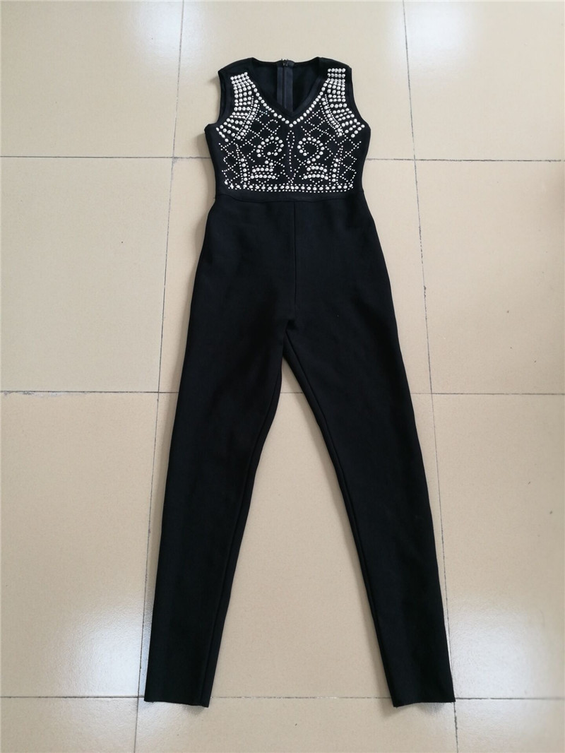 Moulante Luxe Perles Femmes Noir Finition De Multi Lourd Maigre Bandage Palysuits Body Nouveau Mode Barboteuse Embelli Salopette gwF0A