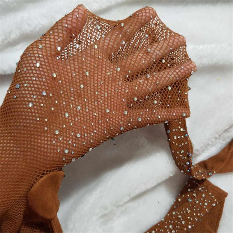 Peuter Meisjes Mode Visnet Hollow Bling Panty Kinderen Stretch Elastische Mesh Kristallen Panty Meisje Kousen Effen Panty