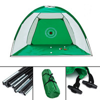 Foldable Golf Hitting Cage Practice Net Trainer+raining Aid Mat+Driver Iron 2x1.4m Polyester+Oxford Cloth Green Durable Portable