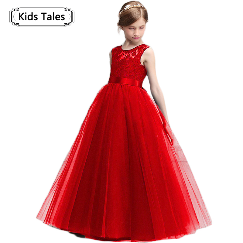 Fashion Girls Princess Lace Dress Little Girl Clothes Teenager Evening Wear Prom Wedding Dress Children Party Dresses SQ350 children clothes little girls lace