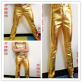 2015 male singer dj black costume men's PU slim gold silver leather pants stage show performance trousers wear