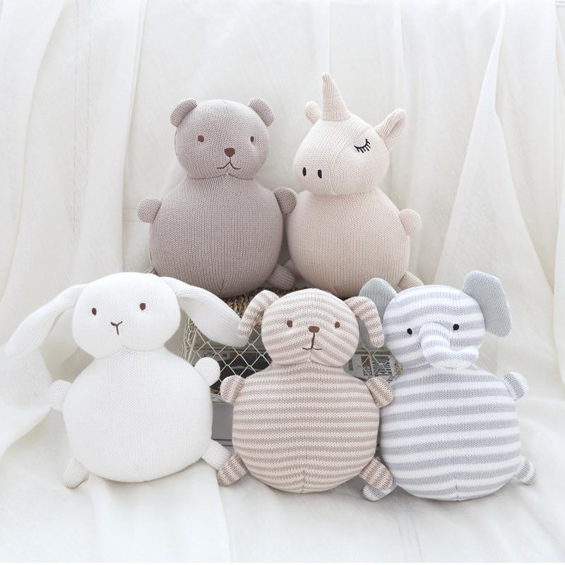 19cm Baby Cloth Rattle Toys Boys Girls Lovely Dolls Cartoon Bear Dog Rabbit Elephant Kids Cute Gifts Infants Newborn Stuffed Toy