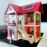 55*37*52cm Kids Wooden Doll House Pretend Toy Wooden Doll Villa with Doll Furniture and Puppets for Girls Birthday Present