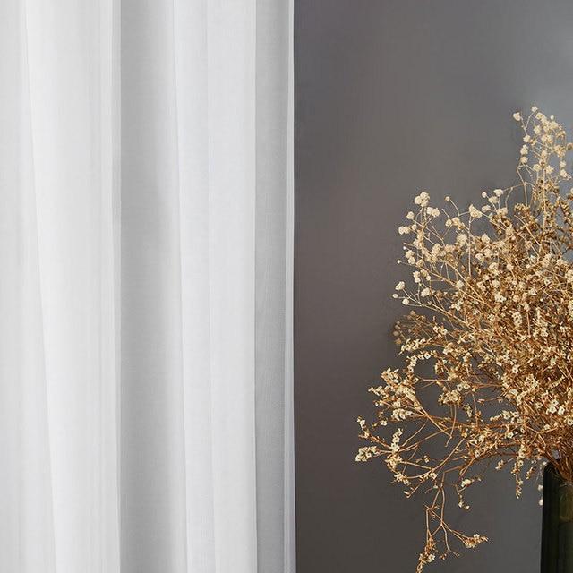 BHD soild bianco di tulle sheer tende della finestra per soggiorno camera da letto moderna tulle organza tende tende in tessuto tende