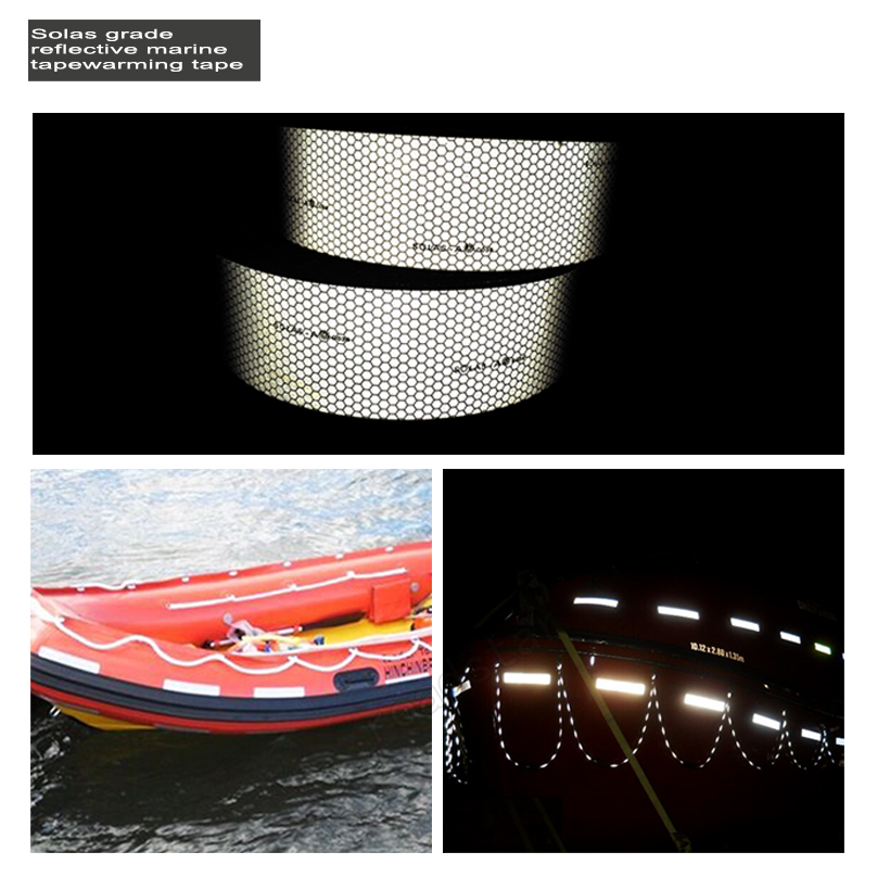5CM Wide Self-Adhesive Reflective Warning Tape with PC Backing Widely Used in Life Rafts And Jackets