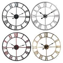 16 дюймов диаметр металлические римские цифры большие настенные часы домашний Декор Современный Лофт кафе железные Подвесные часы бесшумные ретро настенные часы