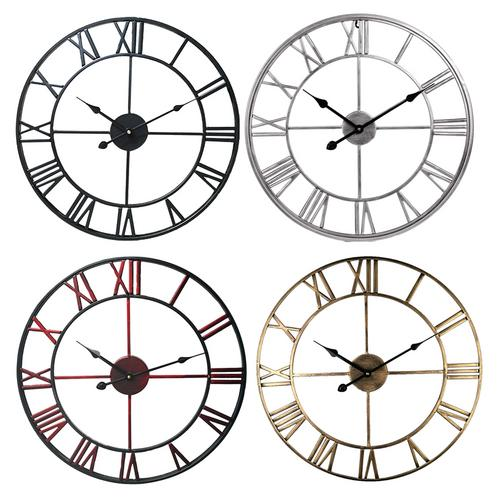 16 Inch Diameter Metal Roman Numerals Big Wall Clock Room Home Decor Modern Loft Cafe Iron Pendant Clock Silent Retro Wall Clock
