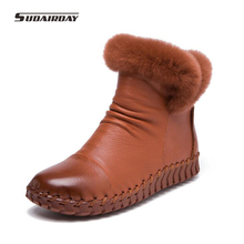 2017 Handmade Women's Winter Boots Women Real Fur Winter Shoes Woman Genuine Leather Warm Ankle Snow Boots Mujer Chaussure(China)