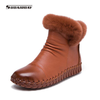 2016 Handmade Women S Winter Boots Women Real Fur Winter Shoes Woman Genuine Leather Warm Ankle