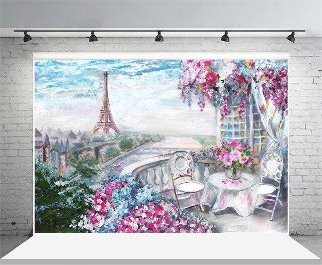 laeacco flowers balcony eiffel tower paris oil painting photography backdrop vinyl custom photo. Black Bedroom Furniture Sets. Home Design Ideas