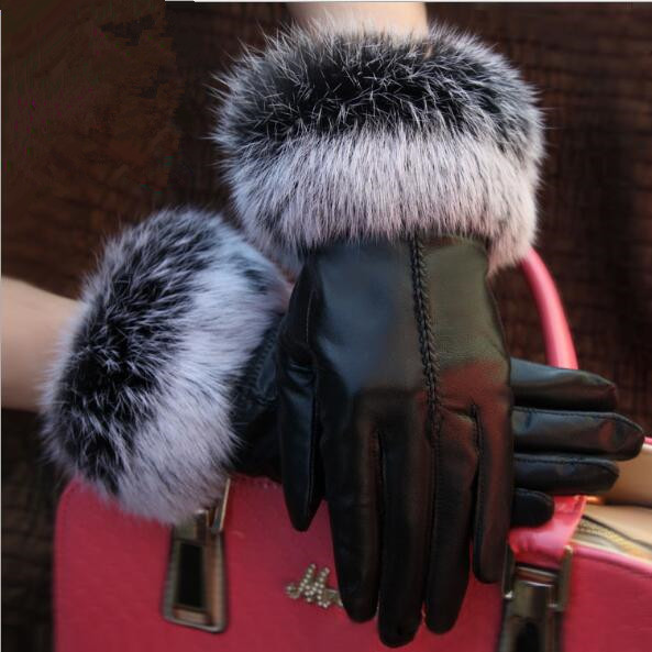 Female Leather Gloves Real Rabbit Fur Mouth Autumn And Winter Plus Velvet Warm Sheepskin Gloves Wholesale