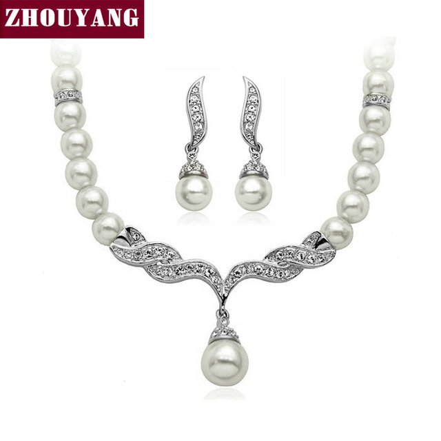ZHOUYANG Top Quality ZYS003 Angle's Wing  Gold Plated Wedding Jewelry Necklace Earring Set Made with Austrian  Crystals