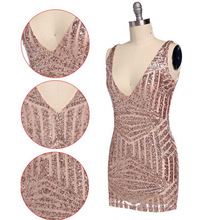 Women Party Dress Cresida Sexy deep V Neck Bodycon Gold Sequin plunge Dress Hollow Cut Out Glitter Dress Vestidos Free Shipping