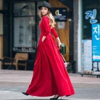 Women Vintage Autumn Dress 2017 New Long Pleated Fit Elegant High Waist Pocket Retro Brand Big