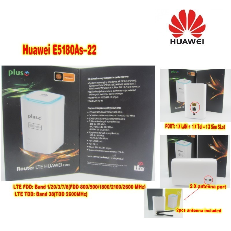 Lot of 10pcs Unlocked Original Huawei E5180 E5180as-22 4G LTE Cube WiFi Hotspot Router Home wireless Router with sim card slot 10pcs lot sen013dg original