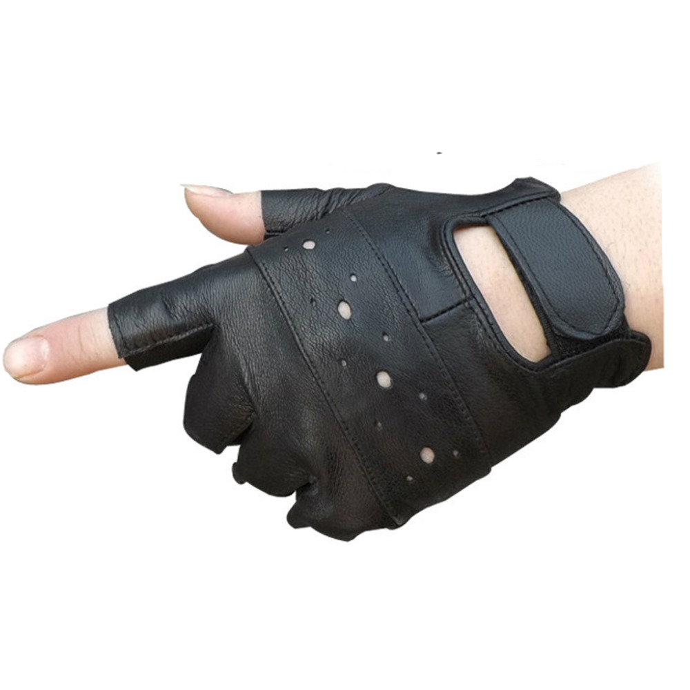 Ladies leather cycling gloves - New Unisex Cycling Gloves Men And Women Fingerless Gloves Women Half Finger Glove Unisex Adult Fingerless Mittens Real Genuine L