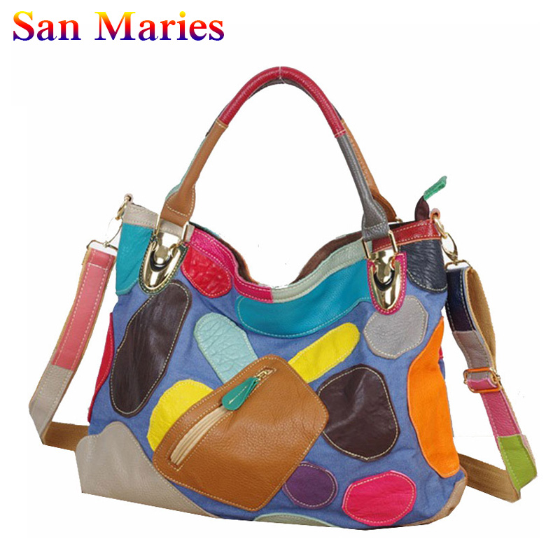 San Maries Luxury Handbags Women Bags Tote 2018 New Fashion Patwork Messenger Shoulder Bags bolsos mujer magical ice cube