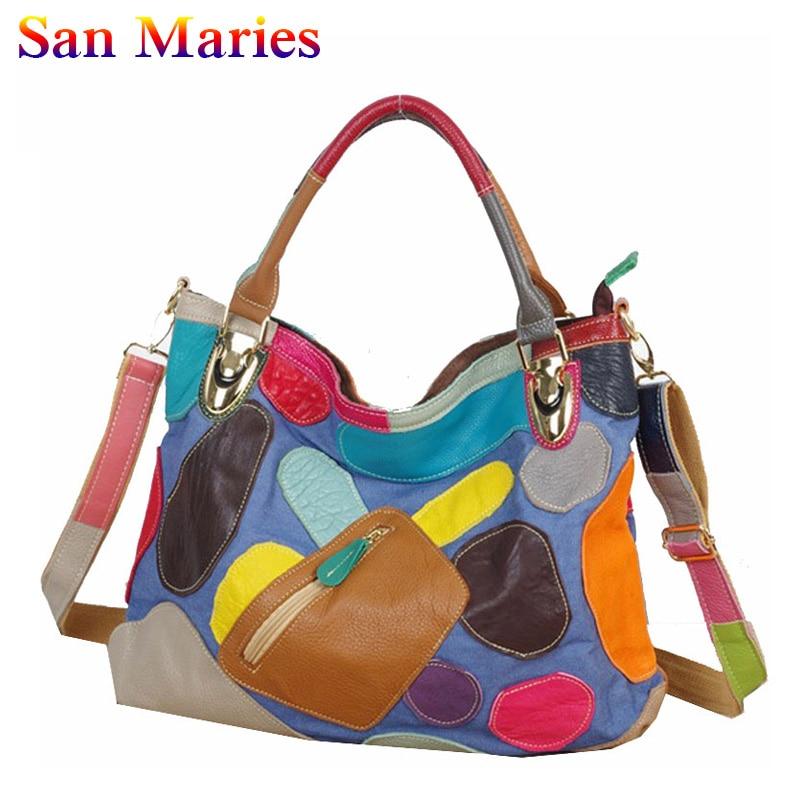 San Maries Luxury Handbags Women Bags Tote 2018 New Fashion Patwork Messenger Shoulder Bags bolsos mujer серьги art silver цвет золотой сргч5008 425