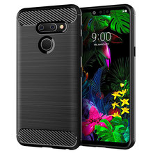 for lg g8 thinq case silicone carbon fiber cell phone anti knock back cover cases