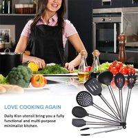 8 шт. кухня набор посуды нержавеющая сталь и черный силиконовый современный антипригарным пособия по кулинарии инструменты