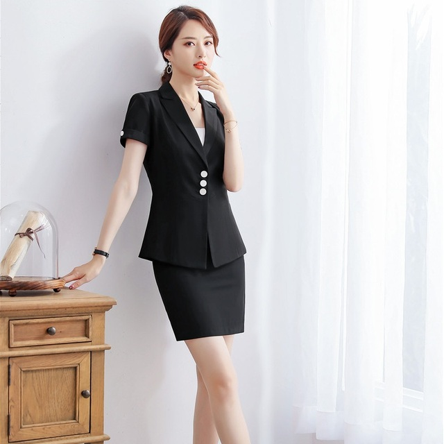 8fc12ac7002 Summer White Blazer Women Work Wear Suits with Skirt and Jacket Sets Ladies Business  Office Uniform Styles