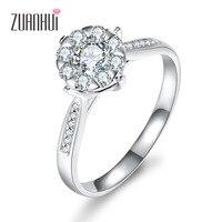 ZUANHUI валентина подарок Уникальный Дизайн 18 К Белое Золото Цветок diamond обручальное кольцо