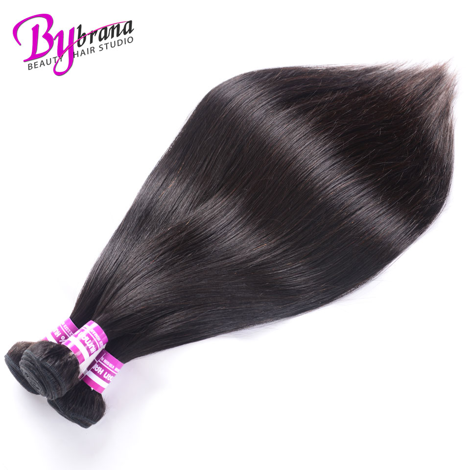 Indian Straight Hair Bundles With Frontal Natural Color Human Hair 18Inches Lace Frontal With Straight Bundles 22 24 26 Bybrana 225