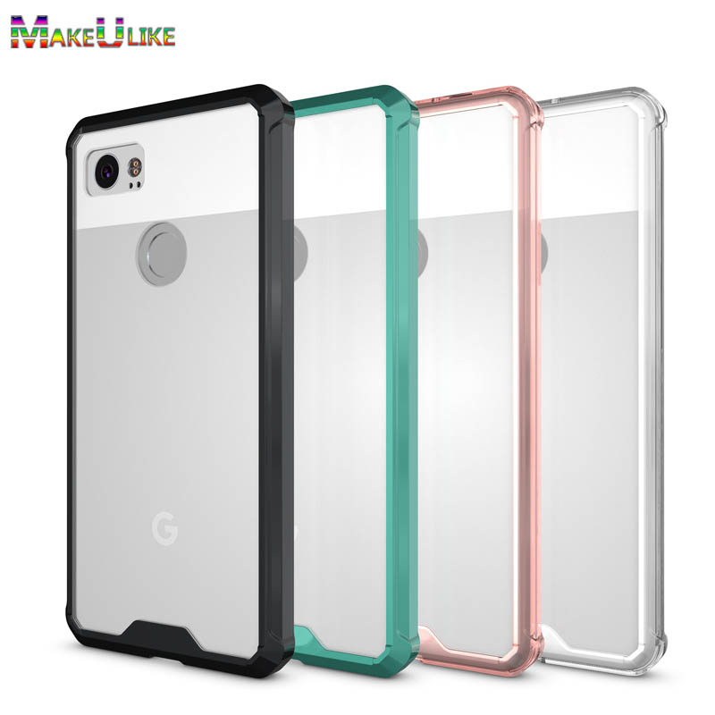 online store 9233d 4b8a7 MAKEULIKE Transparent Case For Google Pixel 2 XL Case TPU Frame Acrylic  Phone Bag Cover For Google Pixel X 2XL Armor Case