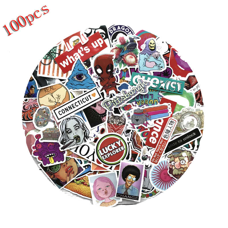 100 PCs Cartoon Graffiti Style Stickers for Car Bike Motorcycle Phone Laptop Travel Luggage Cool Funny Sticker Bomb JDM Decals