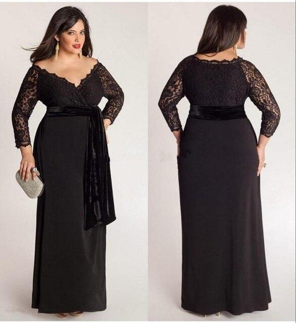 negro tallas grandes lace manga larga de gasa vestidos con cuello en