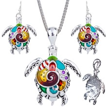 1set NEW Tortoise Necklace Earrings Set Alloy Unique Tortoise Design Gift Animal Pendant Jewelry Sets Rainbow Charm Accessories