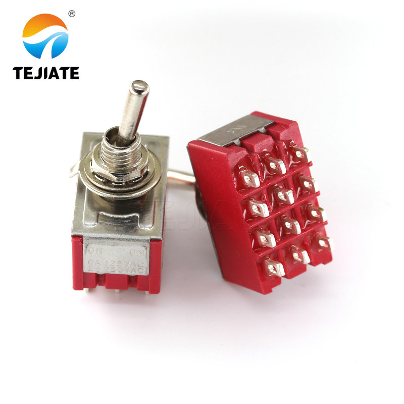 5pcs 6A/125VAC 2A/250VAC 12Pins 4PDT ON/ON 2 Positions Mini MTS-402 Toggle Switch Red image