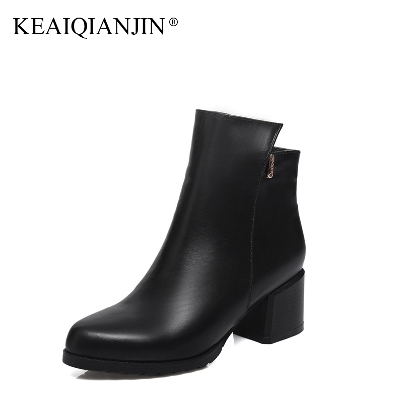 KEAIQIANJIN Woman High Heels Ankle Boots Autumn Winter Black Red Plus Size 33 - 44 Shoes Metal Decoration Genuine Leather Boots keaiqianjin woman patent leather pumps plus size 33 43 high shoes spring autumn metal decoration black genuine leather pumps