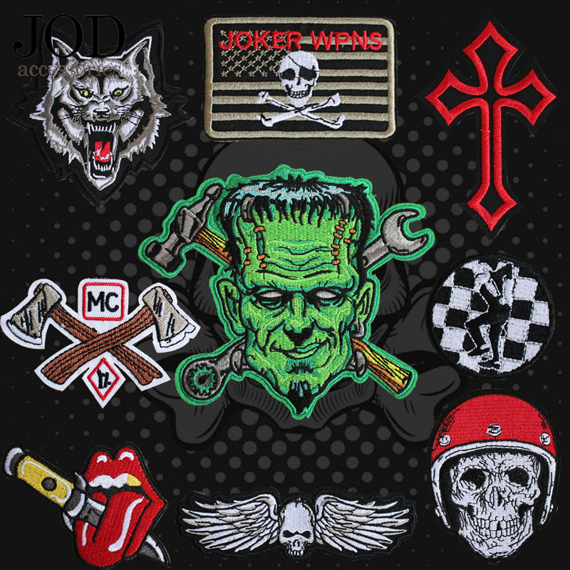 JOD BIKERS PUNK ROCK SKULL Embroidered Iron on Thermo Adhesive Patches Clothing Ironing Applications for Clothes Hot Sticky