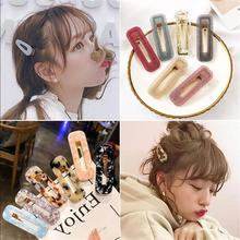 Acrylic Waterdrop Geometric Hairpins Barrette Children Girls Hair Accessories Hollow Rectangle Big Hair Clips For Kids