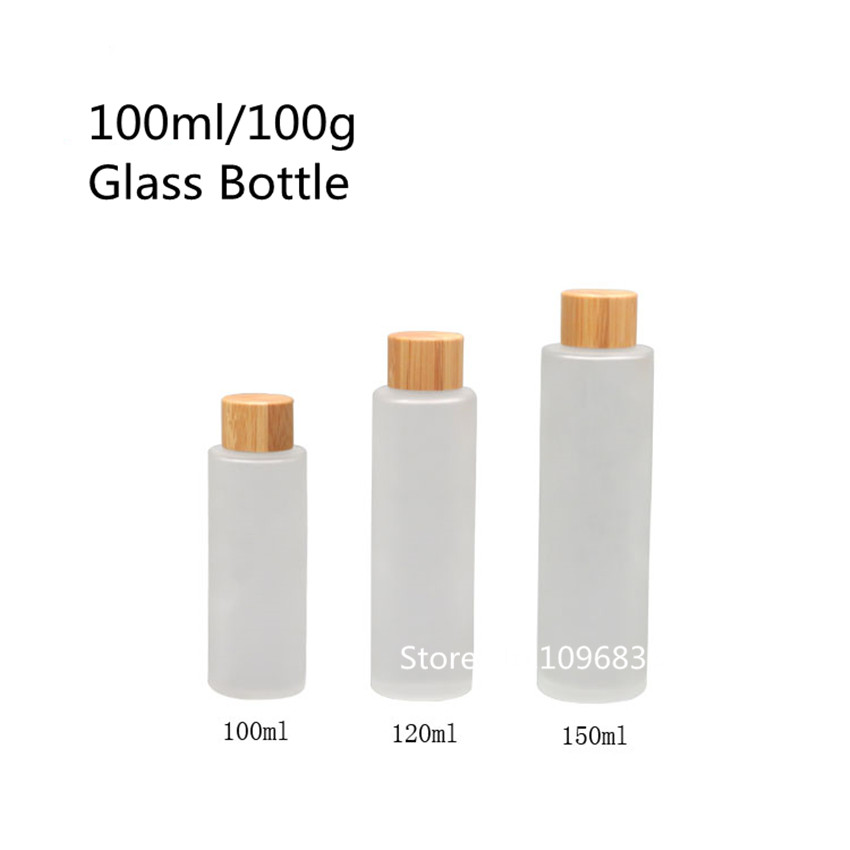 10PCS 100ml Frosted Glass Bottles With Bamboo Screw Lid Bamboo Glass Cosmetic Bottle Lotion Emulsion Essence Oil Toning lotion free shipping promotion 10pcs lot 100ml pet clear bottle 100ml flat lotion bottles sprayer bottles 100ml