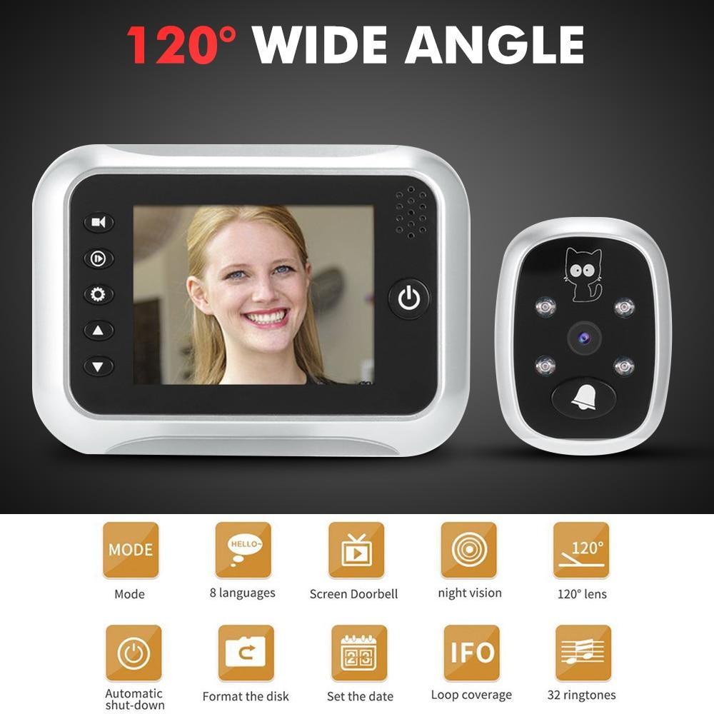 "3.5"" LCD Display Smart Doorbell Viewer Digital Door Bell Peephole Viewer Camera Door Eye Video record 120 Degrees Night vision|Doorbell| |  - title="