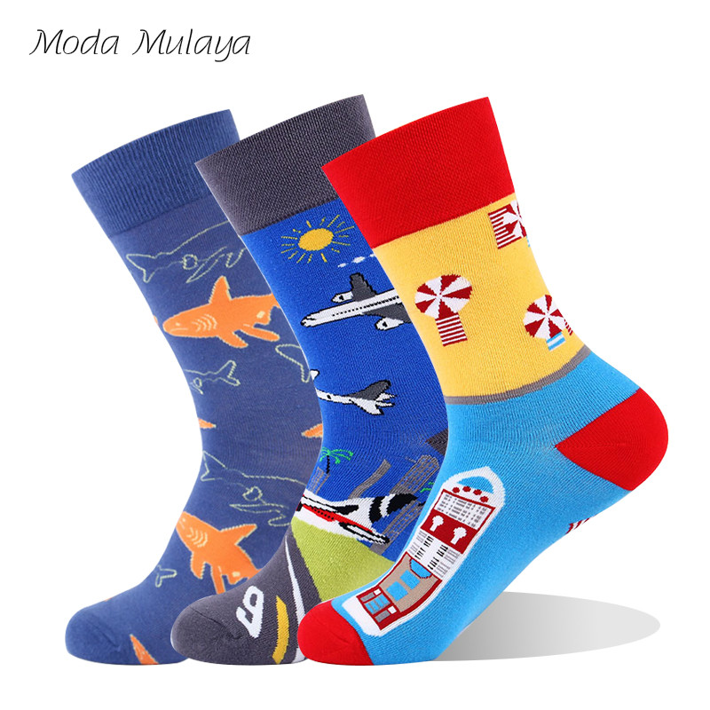 New Arrival Men's Funny   Socks   Men Thermal 100% Cotton Happy   Socks   Colorful Fashion Casual Crew Long Winter Unisex   Sock   Mens Gift