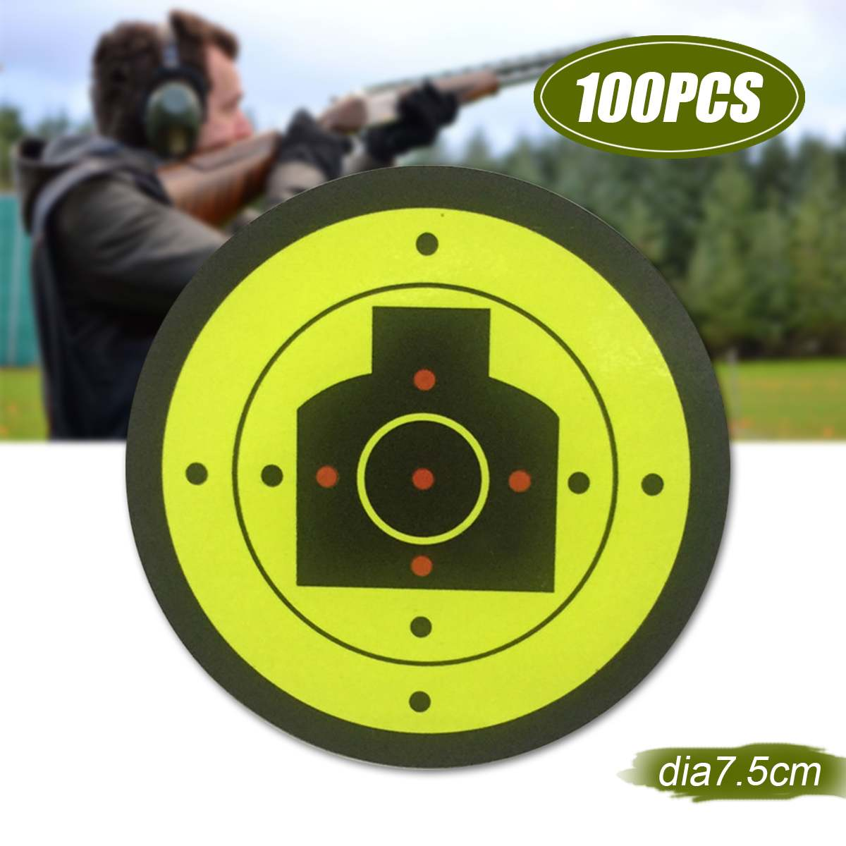 100Pcs Stick Splatter Reactive Target Sticker Self Adhesive Shooting Targets For Fluorescent Hunting Guns Target Paper Dia 7.5cm