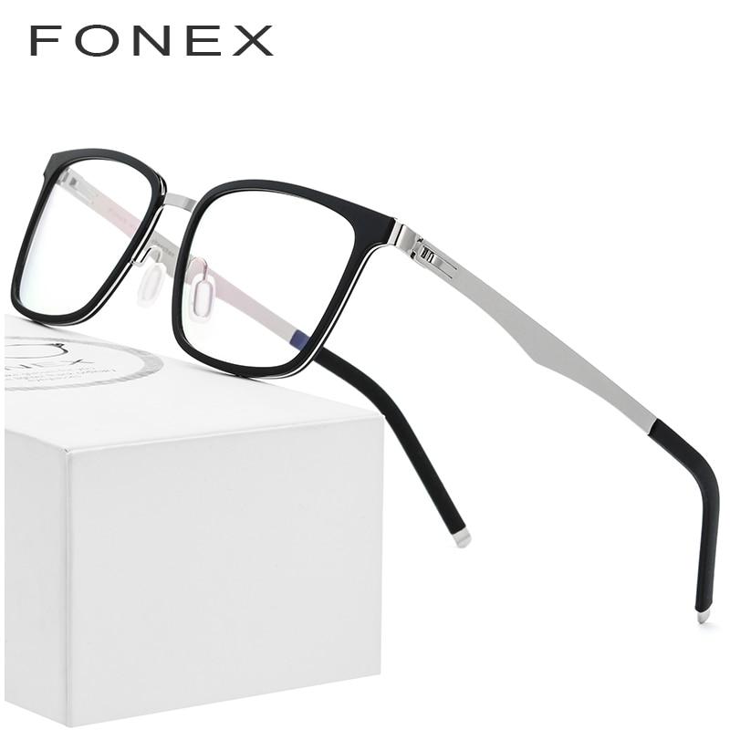 1c989c97c2 FONEX TR90 Glasses Frame Men Square Prescription Eyeglasses 2019 New Myopia  Optical Frames Spectacles Women Screwless Eyewear