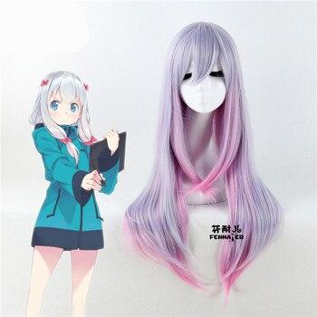 Japonés anime eromanga Sensei Izumi Sagiri Cosplay peluca Comic-con traje chica lolita larga degradado peluca con gorro de pelo