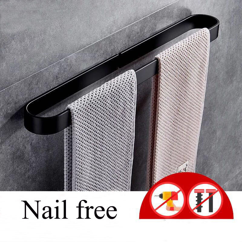 Nail Free Space Aluminum Solid Black Towel Bar Hanger Single Towel Bar Towel Holder Western Style Bathroom Accessories D 30-60cm
