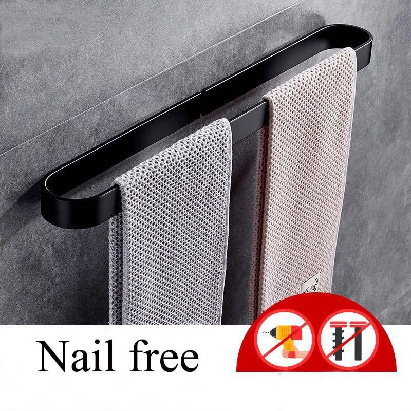 Nail Free Space Aluminum Solid Black Towel Bar Hanger Single Towel Bar Towel Holder Western Style Bathroom Accessories D 30-60cm