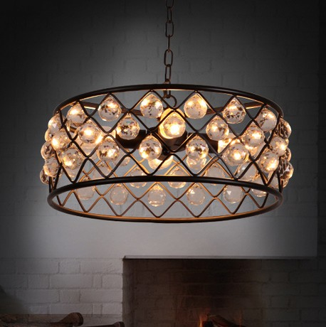 American Iron Art Droplight Retro Crystal Chandelier Fixtures For Living Dining Room Hanging Lamp Indoor Lighting Lamparas american living room retro art chandelier nordic country antler chandelier clothing store villa candle lamp