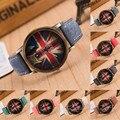 Moda Estilo britânico 9 Cores Denim Deus Palavras Do Seletor Do Vintage salve A Rainha Amantes de Relógios de Quartzo relógio de Pulso para o Homem Mulheres OP001