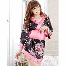 Women Cosplay Kimono Lingerie Japanese Uniform Black Cherry Blossom Kimono Large Bowknot Sexy Lady Cosplay Costumes  LB