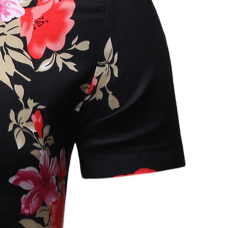 Evening Dress Men Shirts Short Sleeve Flower New Model Shirts Stay Floral Hawaiian Beach Style Blouse Men Summer New