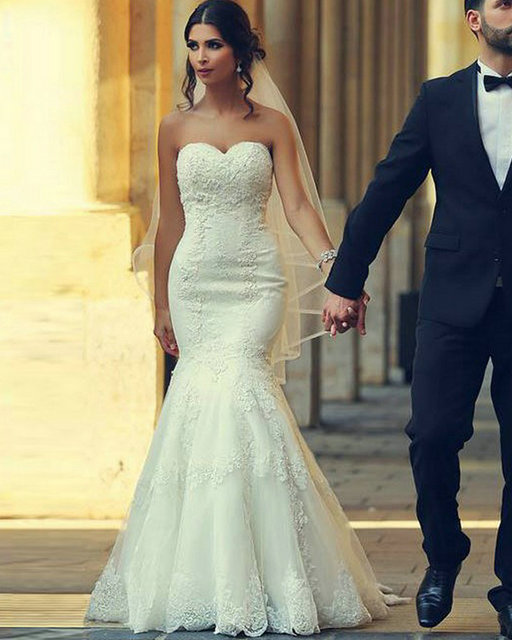 With Veil Ivory Mermaid Wedding Dresses 2016 Sweetheart Lace Up Back ...
