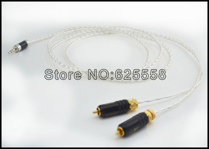 High quality occ silver plated Mini Stereo 3.5mm TO 2 RCA AUX Audio Cable 2M hd650 hd600 hd580 hd525 headphone upgrade cable occ silver plated